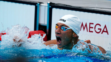 Photo of Tunisia's Ahmed Hafnaoui swims to Gold in the men's 400m freestyle final